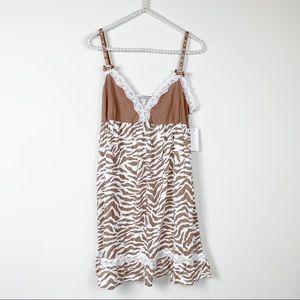 P.J. Salvage Intimates XL brown zebra lace dress